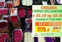 5% скидка на товар по акции не распространяется. Мы продаем 25 колумбийских роз в ассортименте длиной 50 см, г. Санкт-петербург. Мир скидок для наших клиетнов.